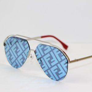 1aaa103ffb58 FENDI Mirrored Monogram Sunglasses Aviator